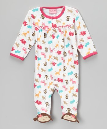 Pink & White Monkey Footie - Infant