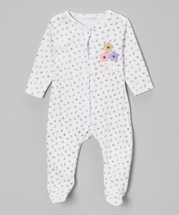Rumble Tumble White & Yellow Floral Footie - Infant