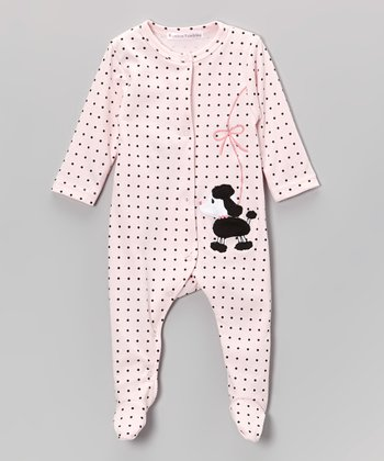 White & Black Polka Dot Poodle Footie - Infant