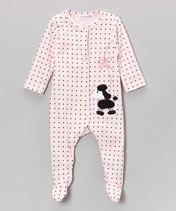 Rumble Tumble White & Black Polka Dot Poodle Footie - Infant