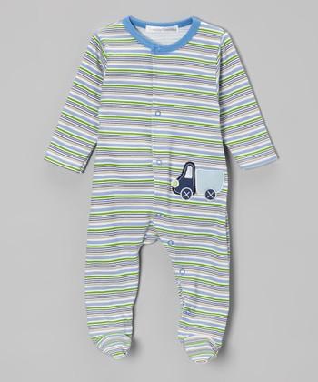 Rumble Tumble Blue & White Stripe Truck Footie - Infant