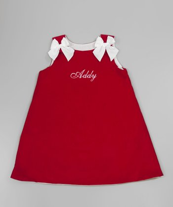 Red & White Bow Personalized Jumper - Infant, Toddler & Girls