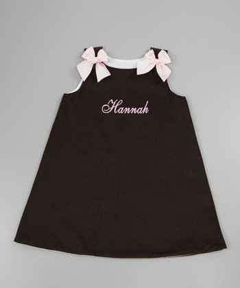 Brown & Pink Bow Personalized Jumper - Infant, Toddler & Girls