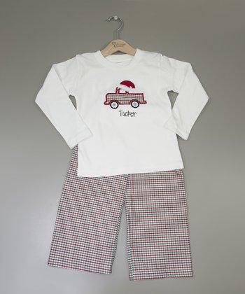Red Santa Hat Personalized Top & Pants - Infant, Toddler & Boys