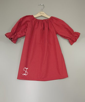 Red Peasant Initial Dress - Infant, Toddler & Girls