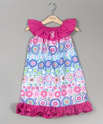 Fuchsia Flower Initial Dress - Infant, Toddler & Girls