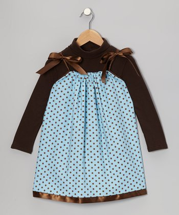 Blue Polka Dot Swing Dress & Turteneck - Infant, Toddler & Girls
