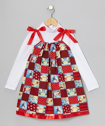 Red Christmas Swing Dress & Turtleneck - Infant, Toddler & Girls