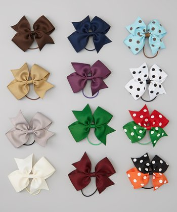 Fall Bow Hair Tie Set