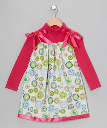 Pink Snowflake Swing Dress & Turtleneck - Infant, Toddler & Girls