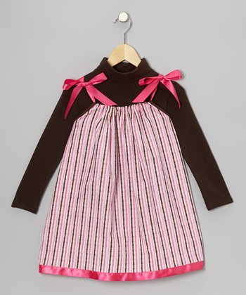 Pink Stripe Swing Dress & Turtleneck - Infant, Toddler & Girls