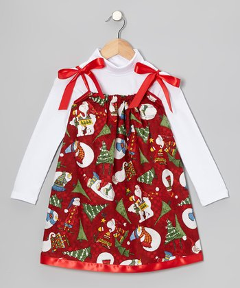 Red Snowman Swing Dress & Turtleneck - Infant, Toddler & Girls