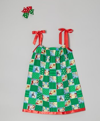 Green Snowman Dress & Hair Clip - Infant, Toddler & Girls