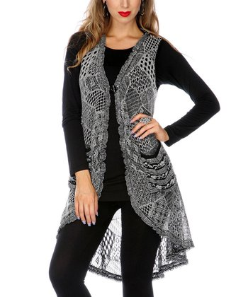 Gray Crocheted Tunic Vest - Women