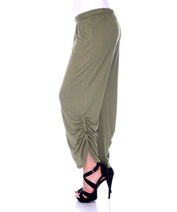 Olive Ruched Pants