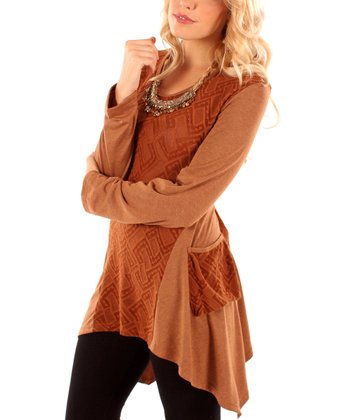 Copper Geometric Sidetail Tunic