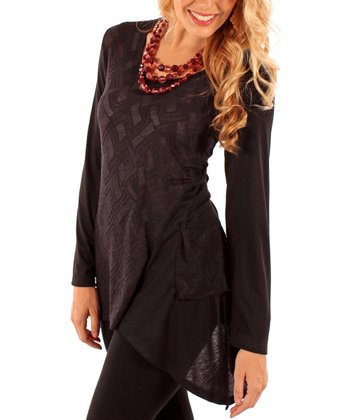 Black Geometric Sidetail Tunic