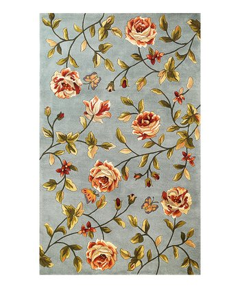 Blue Spray Roses Wool Rug
