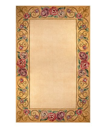 Ivory Rose Border Wool Rug
