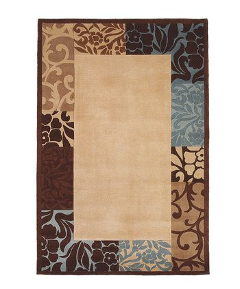 Beige & Blue Damask Border Round Wool Rug