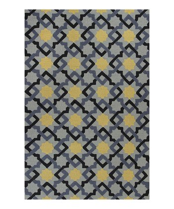 Blue Quiltwork Indoor/Outdoor Rug
