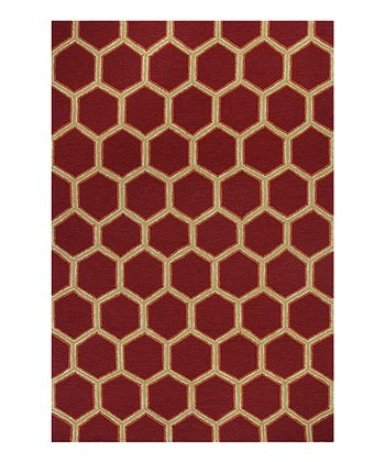 Red Honeycomb Indoor/Outdoor Rug