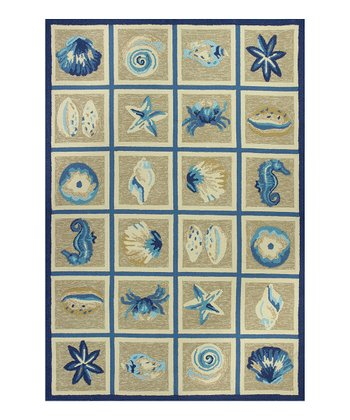 Beige & Blue Oceana Indoor/Outdoor Rug