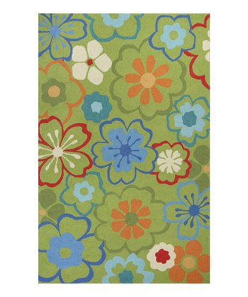 Green Floral Splash Rug