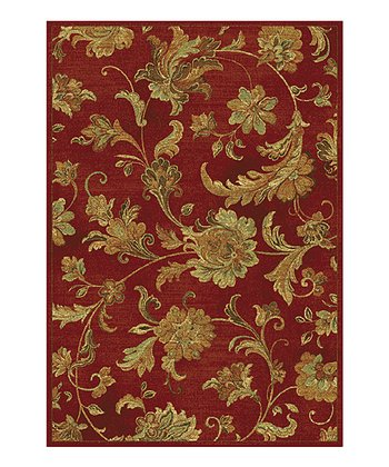 Red Aegean Scroll Rug
