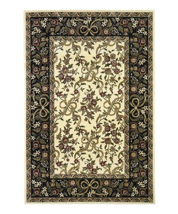 Ivory & Black Floral Ribbons Rug