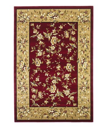 Red & Beige Floral Delight Rug