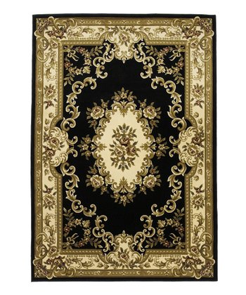 Black & Ivory Aubusson Rug