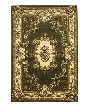Green & Ivory Aubusson Rug