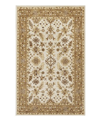 Ivory & Coffee Tapestry Wool Rug