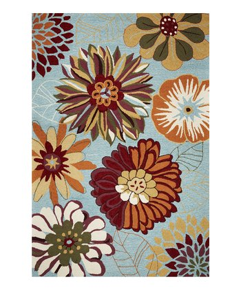 Blue Floral Splash Rug