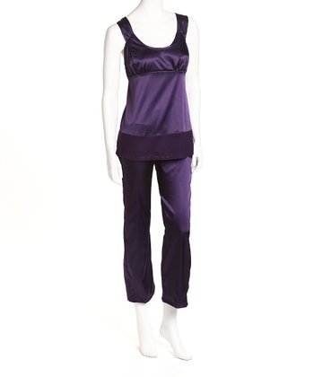 Dark Purple Satin Nursing Pajamas