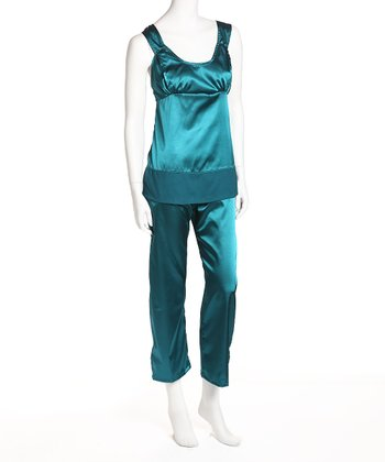 Teal Satin Nursing Pajamas