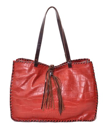 Red Crocodile-Embossed Tote