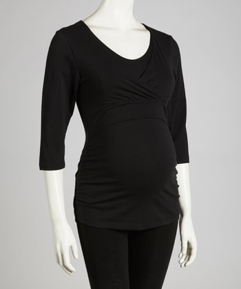 Black Soho Chic Maternity & Nursing Top