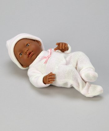 La Newborn Brown-Haired Doll & Pink Outfit