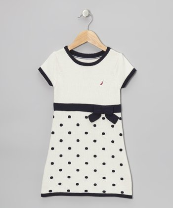 Natural & Navy Polka Dot Bow Dress - Toddler