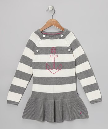 Gray Stripe Anchor Dress - Toddler & Girls