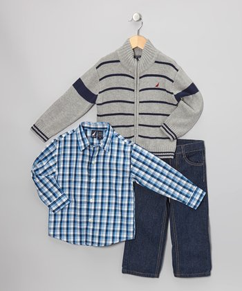 Ash Stripe Zip-Up Turtleneck Sweater Set - Infant & Toddler