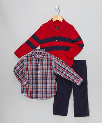Cherry & Navy Stripe Pullover Sweater Set - Infant