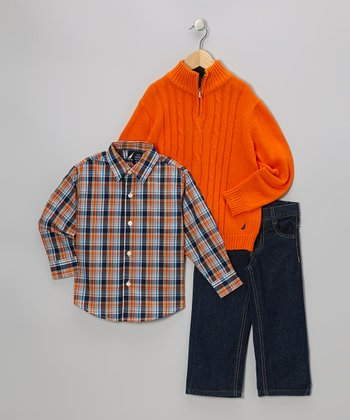 Orange Cable-Knit Pullover Sweater Set - Toddler