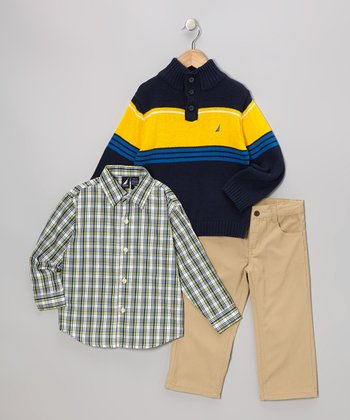 Blue & Yellow Button Pullover Sweater Set - Toddler
