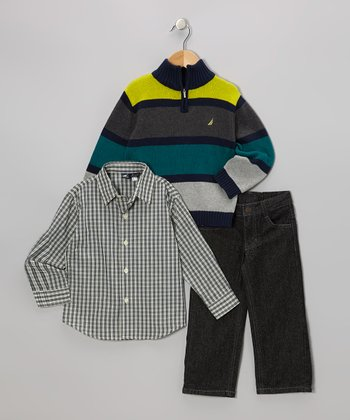 Spruce & Coal Stripe Pullover Sweater Set - Toddler