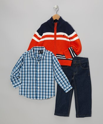 Orange & Navy Stripe Zip-Up Turtleneck Sweater Set - Toddler