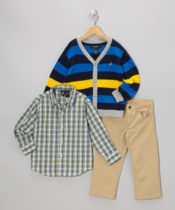 Blue & Yellow Stripe Cardigan Set - Toddler
