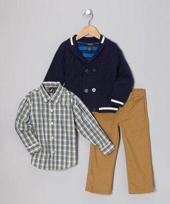 Blue Cable-Knit Double-Breasted Cardigan Set - Toddler
